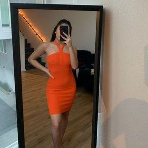 orange midi length dress